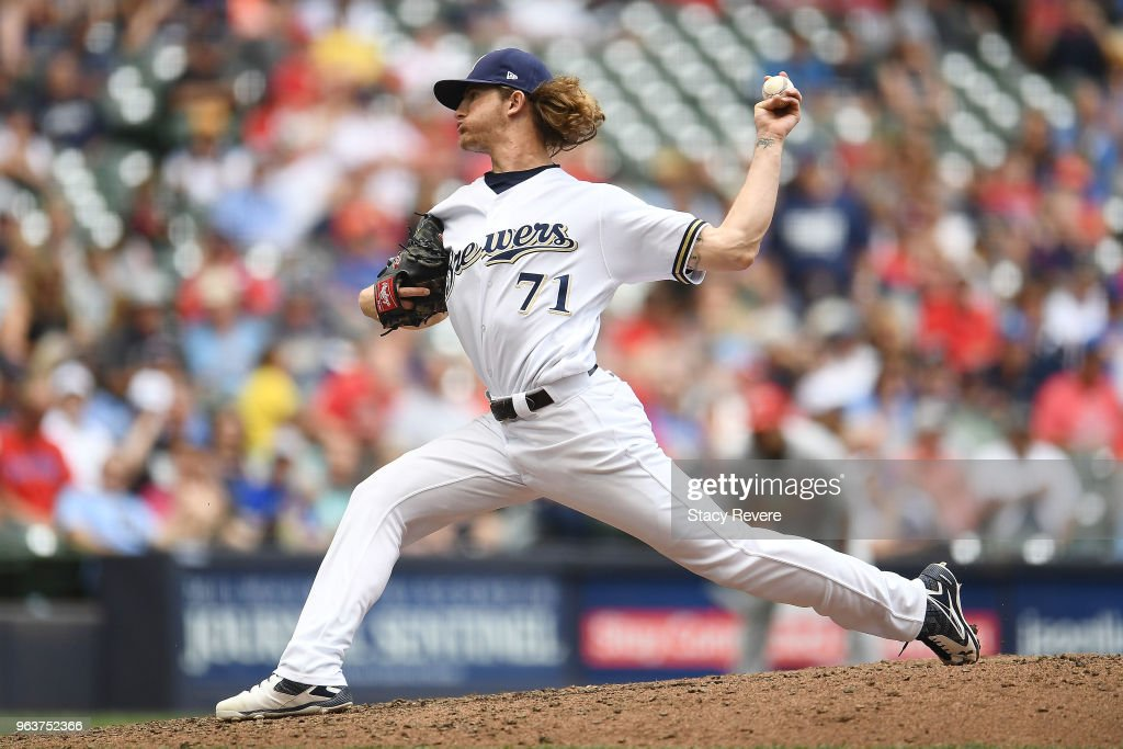 Josh Hader #71 of the Milwaukee Brewers throws a pitch during the eighth inning of a game against the St. Louis Cardinals at Miller Park on May 30, 2018 in Milwaukee, Wisconsin.