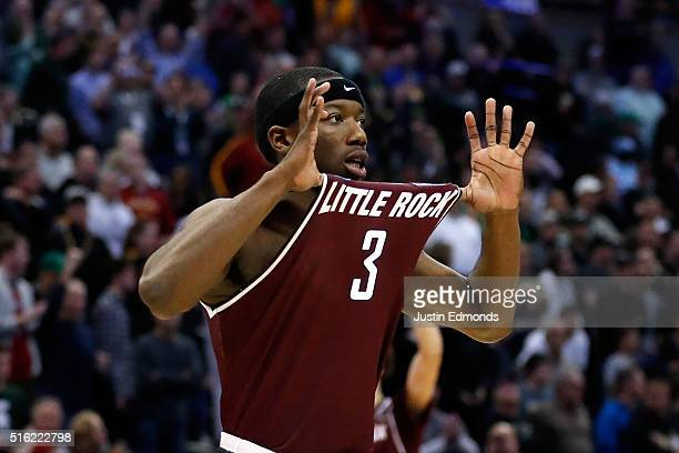 Josh Hagins of the Arkansas Little Rock Trojans reacts during the game against the Purdue Boilermakers during the first round of the 2016 NCAA Men's...