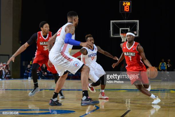Josh Hagins of the Maine Red Claws handles the ball during the game against the Delaware 87ers on February 14 2017 at the Bob Carpenter Center in...