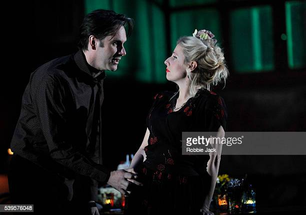 Josh Hamilton as Robert and Sinead Matthews as Jane in the National Theatre's production of Wallace Shawn's Evening at the Talk House directed by Ian...