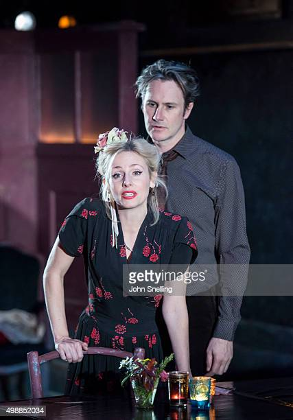 Josh Hamilton as Robert Sinead Matthews as Jane perform on stage during a performance of 'Evening At The Talk House' at The National Theatre on...