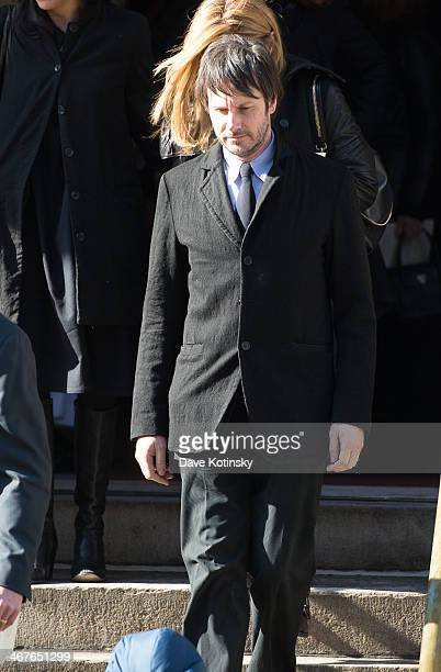 Josh Hamilton leaves the funeral service for actor Philip Seymour Hoffman who died of an alleged drug overdose on February 1 2014 at St Ignatius Of...