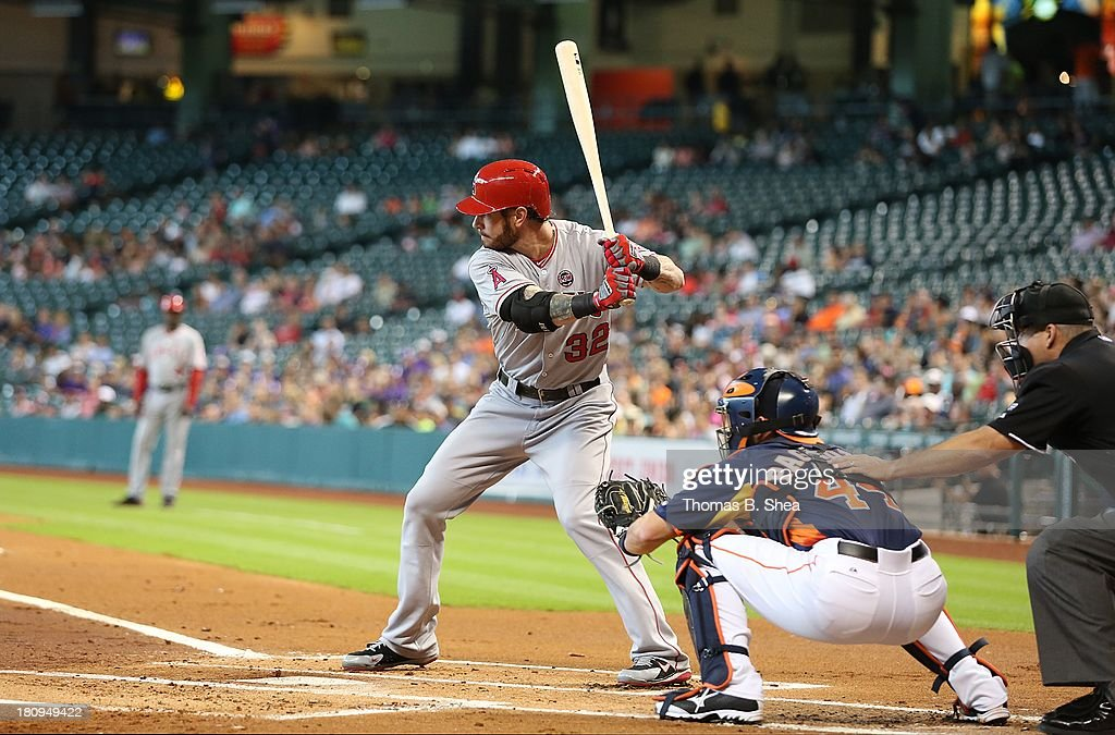 Josh Hamilton #32 of the Los Angeles Angels bats against the Houston Astros on September 15, 2013 at Minute Maid Park in Houston, Texas.