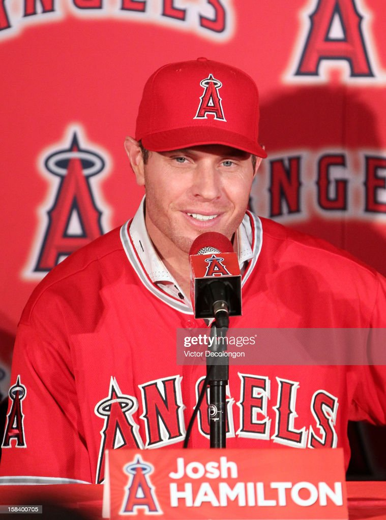 Josh Hamilton #32 of the Los Angeles Angels of Anaheim speaks during the press conference introducing Hamilton as the team's newest player at ESPN Zone at Downtown Disney on December 15, 2012 in Anaheim, California.