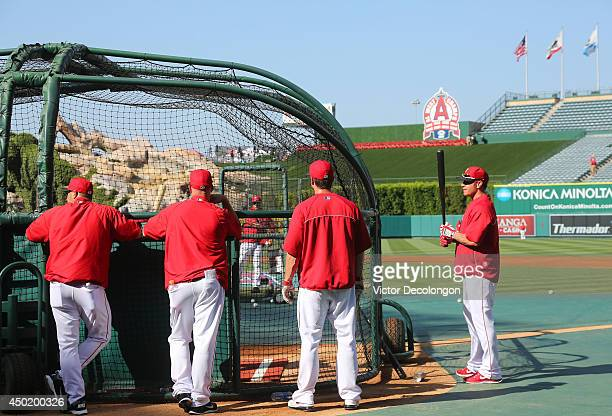 Josh Hamilton of the Los Angeles Angels of Anaheim waits to take his turn in the batting cage during batting practice prior to the MLB game against...