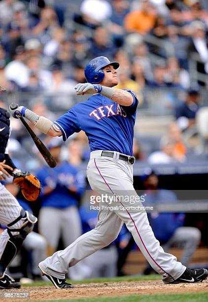Josh Hamilton of the Texas Rangers bats against the New York Yankees at Yankee Stadium on April 18 2010 in the Bronx borough of Manhattan The Yankees...