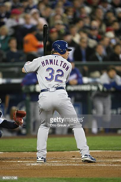 Josh Hamilton of the Texas Rangers bats against the Seattle Mariners on March 31 2008 at Safeco Field in Seattle Washington