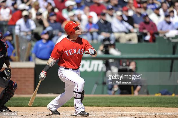 Josh Hamilton of the Texas Rangers bats during the game against the Cleveland Indians at Rangers Ballpark in Arlington in Arlington Texas on Monday...