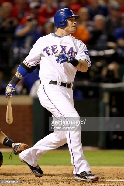 Josh Hamilton of the Texas Rangers hits a solo home run in the bottom of the fifht inning against the San Francisco Giants in Game Three of the 2010...