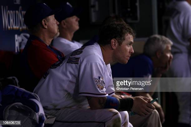 Josh Hamilton of the Texas Rangers looks on dejected from the dugout late in the game against the San Francisco Giants in Game Four of the 2010 MLB...