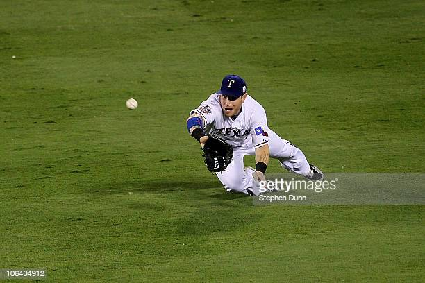 Josh Hamilton of the Texas Rangers makes a diving catch in the second inning against the San Francisco Giants in Game Four of the 2010 MLB World...