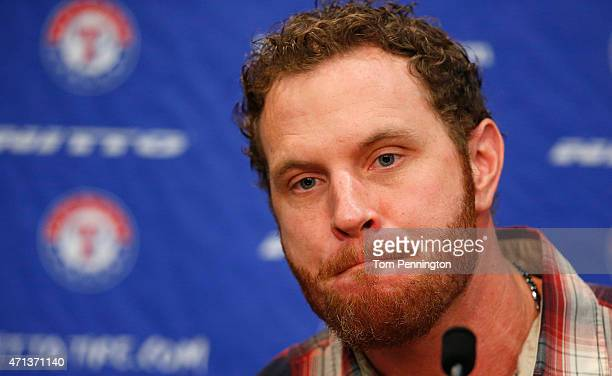 Josh Hamilton outfielder for the Texas Rangers talks with the media at Globe Life Park on April 27 2015 in Arlington Texas Hamilton was acquired from...