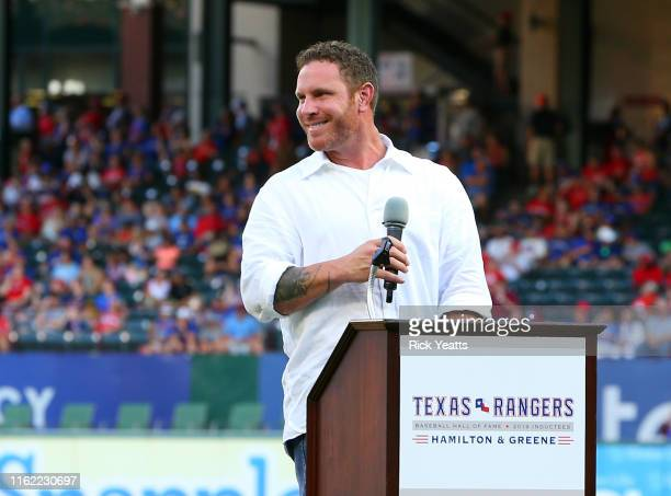 Josh Hamilton speaks to the fans during his induction to the Texas Rangers Hall of Fame before the game between the Texas Rangers and the Minnesota...