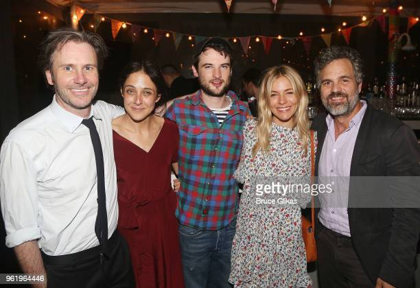 Josh Hamilton wife playwright Lily Thorne Tom Sturridge Sienna Miller and Mark Ruffalo pose at the opening night after party for The New Group...