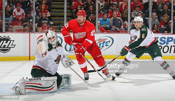 Josh Harding of the Minnesota Wild makes a glove save as Johan Franzen of the Detroit Red Wings looks on and Marco Scandella of the Wild defends...