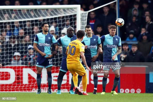 Josh Harop of Preston North End scores the opening goal during the Emirates FA Cup Third Round match between Wycombe Wanderers and Preston North End...