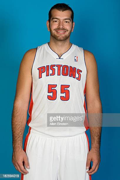 Josh Harrellson of the Detroit Pistons poses for a picture during Media Day on September 30 2013 at The Palace of Auburn Hills in Auburn Hills...