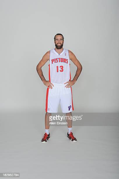 Josh Harrellson of the Detroit Pistons poses for a portrait during media day on September 30 2013 at The Palace of Auburn Hills in Auburn Hills...