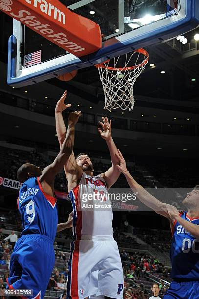 Josh Harrellson of the Detroit Pistons putting up a shot during a game against the Philadelphia 76ers on February 1 2014 at The Palace of Auburn...