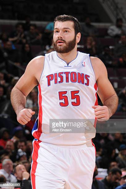 Josh Harrellson of the Detroit Pistons runs up court against the Charlotte Bobcats on December 20 2013 at The Palace of Auburn Hills in Auburn Hills...
