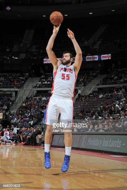 Josh Harrellson of the Detroit Pistons shoots the ball against the Charlotte Bobcats on December 20 2013 at The Palace of Auburn Hills in Auburn...