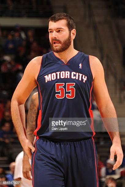 Josh Harrellson of the Detroit Pistons stands on the court against the Miami Heat on December 8 2013 at The Palace of Auburn Hills in Auburn Hills...
