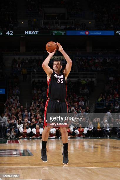 Josh Harrellson of the Miami Heat shoots against the Milwaukee Bucks during the game on December 29 2012 at the BMO Harris Bradley Center in...