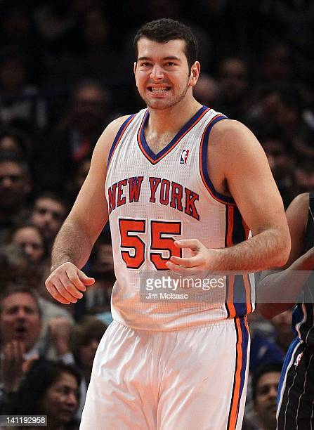Josh Harrellson of the New York Knicks in action against the Orlando Magic on January 16 2012 at Madison Square Garden in New York City The Magic...