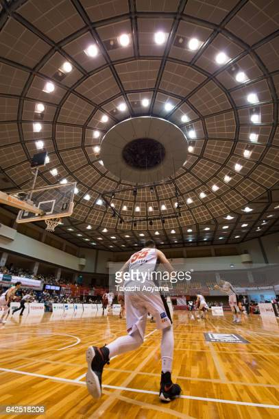 Josh Harrellson of the Osaka Evessa in action during the BLeague game between Toshiba Kawasaki Brave Thunders and Osaka Evessa at Hiratsuka General...