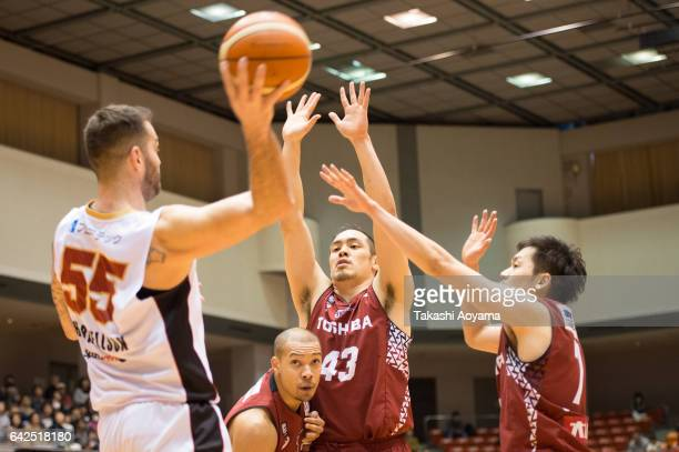 Josh Harrellson of the Osaka Evessa looks to pass during the BLeague game between Toshiba Kawasaki Brave Thunders and Osaka Evessa at Hiratsuka...