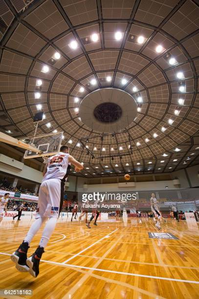 Josh Harrellson of the Osaka Evessa passes the ball during the BLeague game between Toshiba Kawasaki Brave Thunders and Osaka Evessa at Hiratsuka...