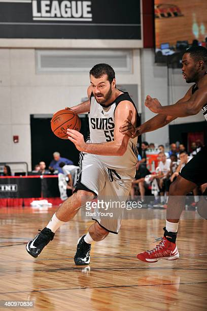 Josh Harrellson of the Phoenix Suns drives against the Milwaukee Bucks during the 2015 NBA Las Vegas Summer League game on July 16 2015 at The Cox...