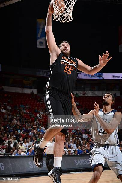 Josh Harrellson of the Phoenix Suns goes to the basket against the New Orleans Pelicans on July 19 2015 at the Thomas Mack Center in Las Vegas Nevada...