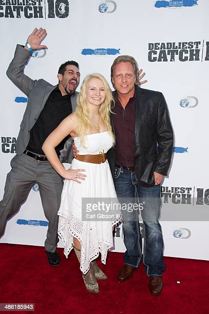 Josh Harris Mandy Hansen and Sig Hansen attend the 10th Season of the Premiere of Deadliest Catch at ArcLight Cinemas on April 22 2014 in Hollywood...