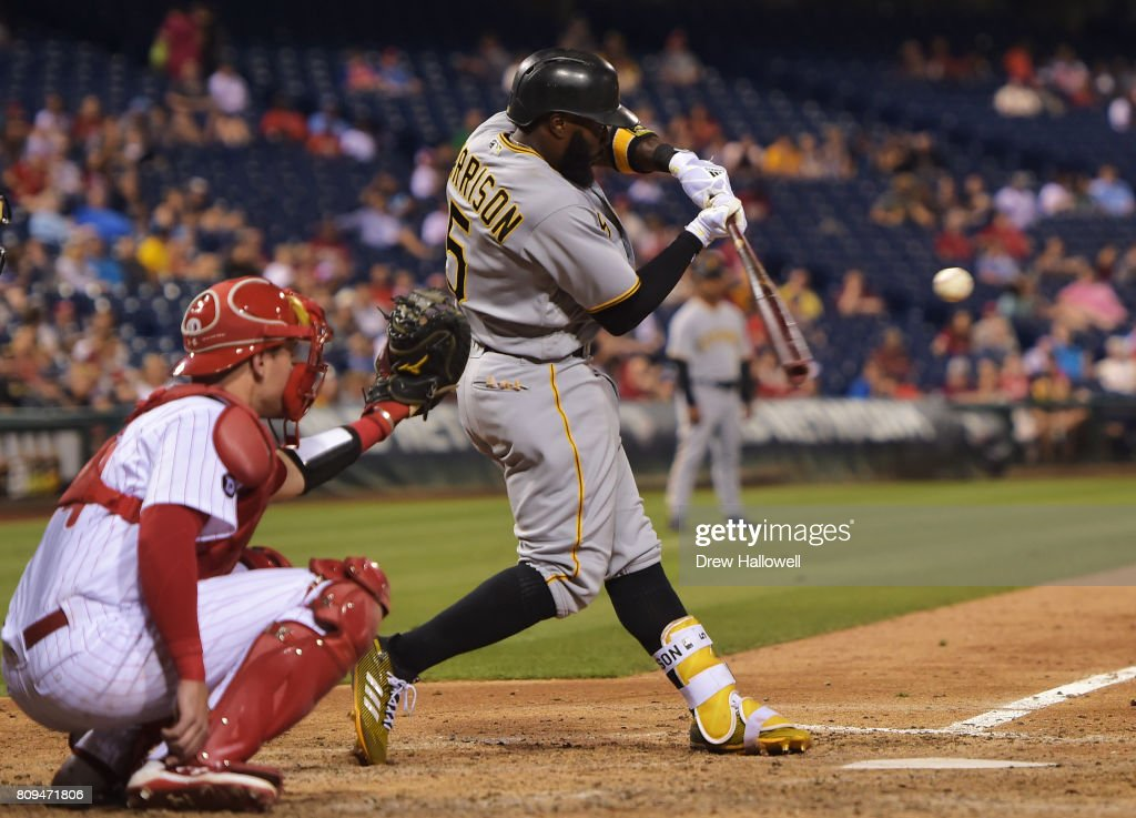 Josh Harrison #5 of the Pittsburgh Pirates hits a single in the ninth inning against the Philadelphia Phillies at Citizens Bank Park on July 5, 2017 in Philadelphia, Pennsylvania. The Pirates won 5-2.