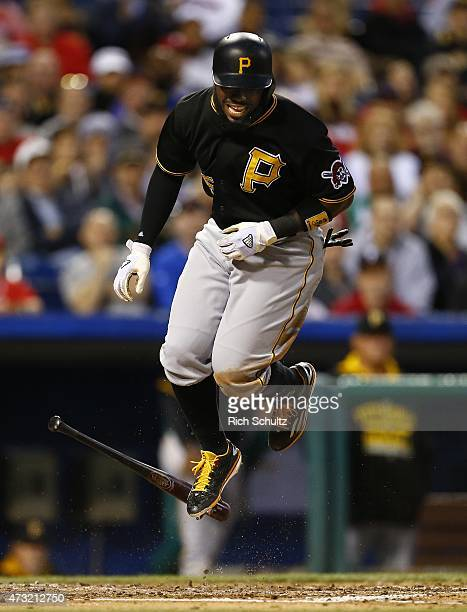 Josh Harrison of the Pittsburgh Pirates is hit by a pitch during the fifth inning of a game against the Philadelphia Phillies at Citizens Bank Park...
