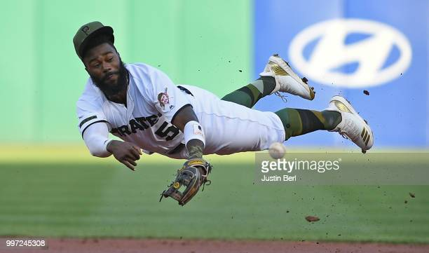 Josh Harrison of the Pittsburgh Pirates throws to first base in the second inning during the game against the Milwaukee Brewers at PNC Park on July...