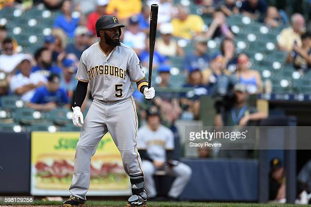 Josh Harrison of the Pittsburgh Pirates waits for a pitch during a game against the Milwaukee Brewers at Miller Park on August 28 2016 in Milwaukee...