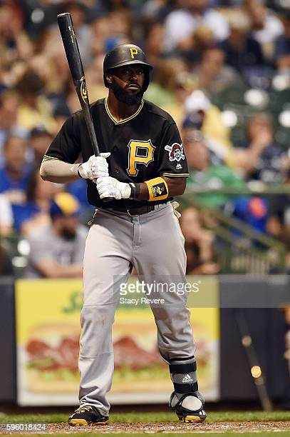 Josh Harrison of the Pittsburgh Pirates waits for a pitch during the sixth inning of a game against the Milwaukee Brewers at Miller Park on August 26...