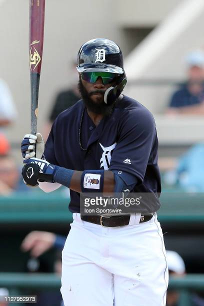 Josh Harrison of the Tigers stretches before stepping into the batter's box during the spring training game between the New York Yankees and the...