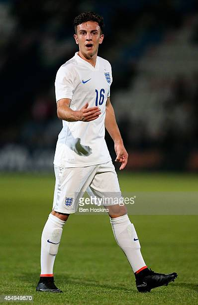 Josh Harrop of England in action during the U20 International friendly match between England and Romania on September 5 2014 in Telford England