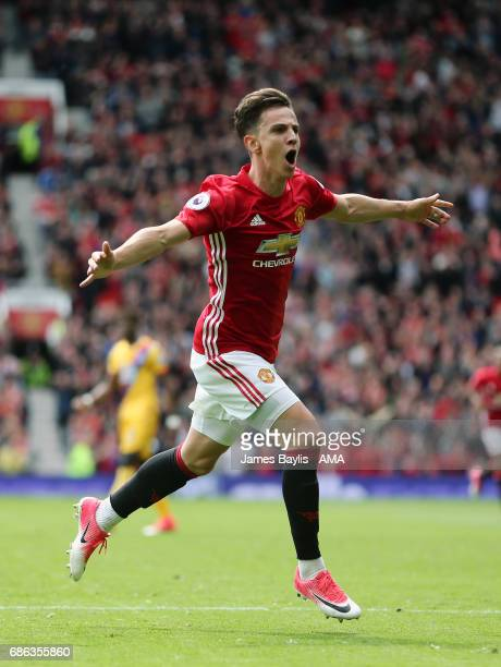 Josh Harrop of Manchester United celebrates after scoring a goal to make it 10 during the Premier League match between Manchester United and Crystal...