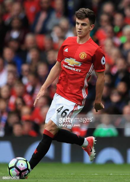 Josh Harrop of Manchester United in action during the Premier League match between Manchester United and Crystal Palace at Old Trafford on May 21...