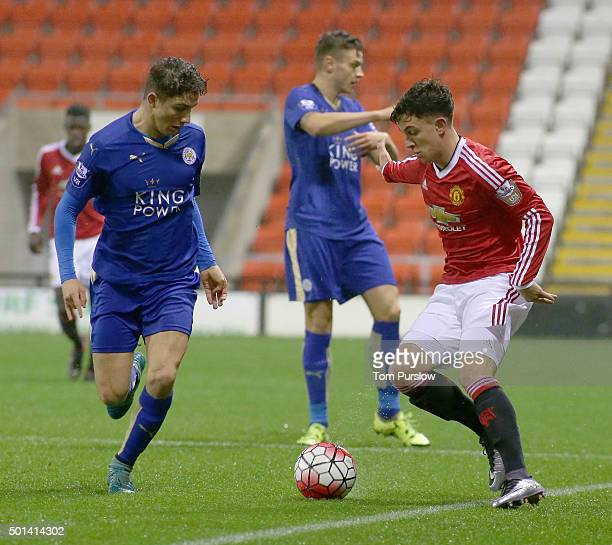 Josh Harrop of Manchester United U21s in action during the Barclays U21 Premier League match between Manchester United U21s and Leicester City U21s...