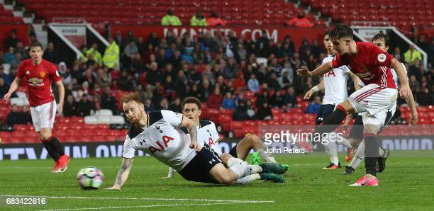Josh Harrop of Manchester United U23s scores their second goal during the Premier League 2 match between Manchester United U23s and Tottenham Hotspur...