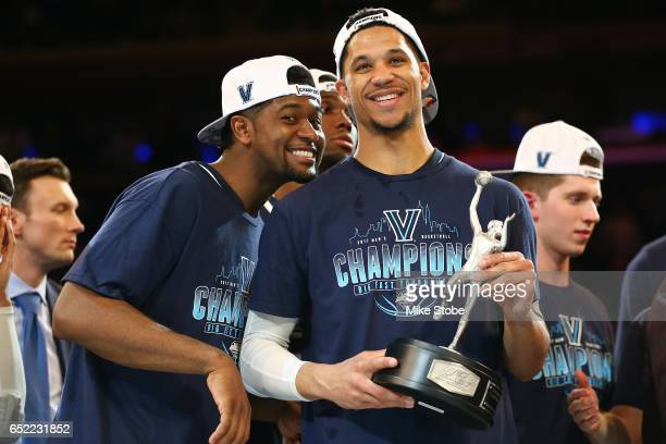Josh Hart and Kris Jenkins of the Villanova Wildcats pose for a photo after defeating the Creighton Bluejays to win the Big East Basketball...