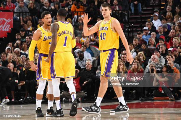 Josh Hart Kentavious CaldwellPope and Ivica Zubac of the Los Angeles Lakers react during the game against the Portland Trail Blazers on November 3...