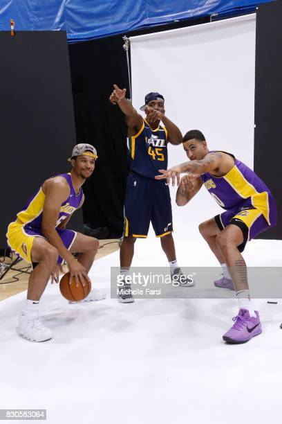 Josh Hart of the Los Angeles Lakers Donovan Mitchell of the Utah Jazz and Kyle Kuzma behind the scenes during the 2017 NBA Rookie Photo Shoot at MSG...