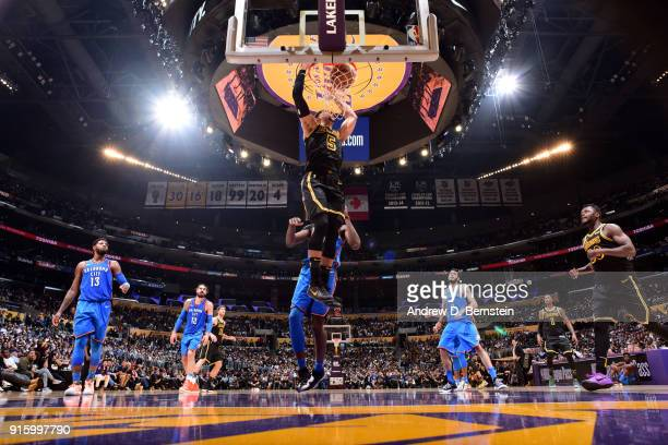 Josh Hart of the Los Angeles Lakers dunks the ball during the game against the Oklahoma City Thunder on February 8 2018 at STAPLES Center in Los...
