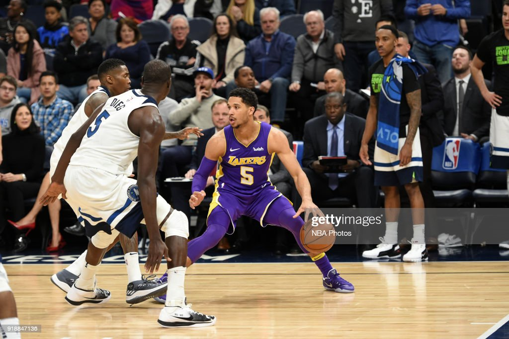Josh Hart #5 of the Los Angeles Lakers handles the ball against the Minnesota Timberwolves February 15, 2018 at Target Center in Minneapolis, Minnesota.